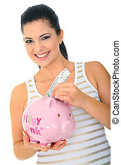 Mommy Saving Money - save money concept a woman holding pink...
