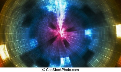 Twinkling Hi-Tech Grunge Light Tunnel, Multi Color, Abstract, Loopable, HD