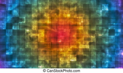Twinkling Hi-Tech Squared Smoke Patterns, Multi Color, Abstract, Loopable, HD