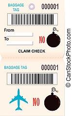 Baggage ticket reminder ban explosives