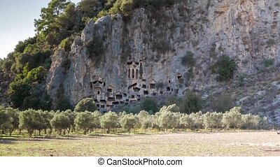 Ancient rock tombs, Dalyan, Turkey. 4k. The magnificent...