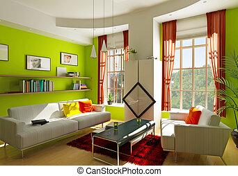 living room - modern living room interior 3D rendering