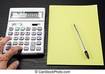 Calculator and notebook - Calculation on calculator and...