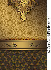 Gold vintage background with decorative borders.