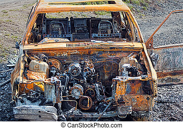 Burnt Out Rusty Car Wreck