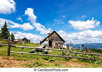 A household with an old wooden barn in the mountains - A...