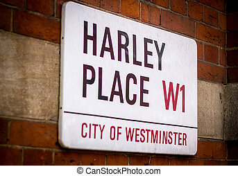 London Street Sign. Harley Place