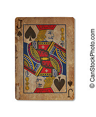Very old playing card, XXXX - Very old playing card isolated...
