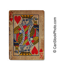 Very old playing card, King of hearts - Very old playing...