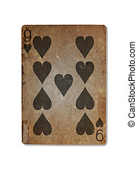 Very old playing card, nine of hearts - Very old playing...