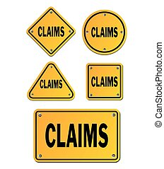 claims yellow signs - suitable for signs