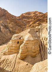 Cave in Qumran, where the dead sea scrolls were found,...