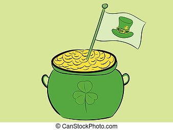 Pot with a flag - Pot with gold with a flag of a St....