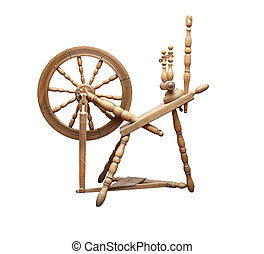 Old Spinning Wheel - Nice ancient wooden spinning wheel on...