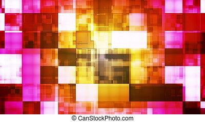 Twinkling Hi-Tech Squared Light Patterns, Multi Color, Abstract, Loopable, HD
