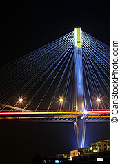 Hong Kong, Ting Kau Bridge at night