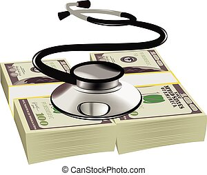 healthy dollars stethoscope - listening heartbeat symbol wad...