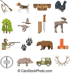 Flat Color Hunting Icons