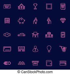 Personal financial purple line icons - Personal financial...
