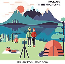 Camping In Mountains Vector Illustration - Camping in...