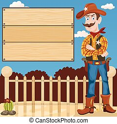 sheriff in front of a banner - Cartoon vector illustration...