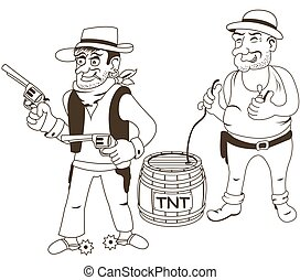 western bandits outlined - Cartoon vector illustration of...