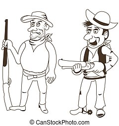 western bandits outlined 2 - Cartoon vector illustration of...