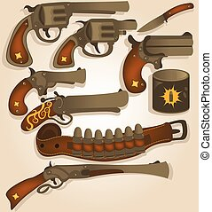 wild west arms collection - Vector collection set of...