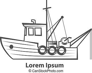 fishing boat logo - fishing boat, simple illustration, for...
