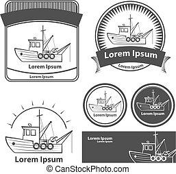 fishing boat elements logo - fishing boat, simple...