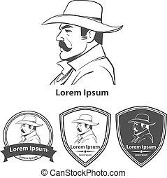 cowboy profile logo - western cowboy head logo in hat,...
