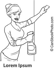 cleaner woman service - pretty girl washes window simple...