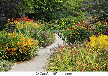 Flower Garden With Winding Path - Garden path winding...