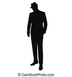 Man in hat, vector isolated silhouette