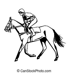 Horse racing, vector drawing