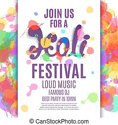 Holi festival poster Template for flyer, brochure or...