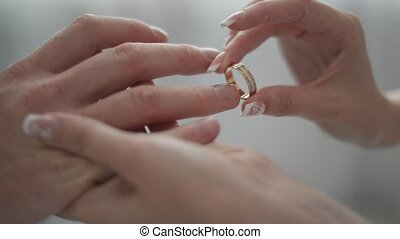 exchanging wedding rings - closeup of bride and groom...