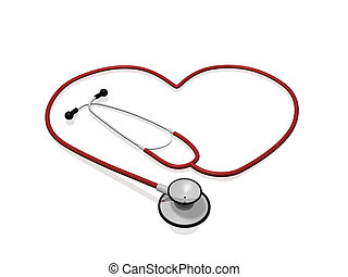 Stethoscope Heart - A red stethoscope in the shape of a...