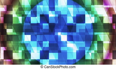 Twinkling Hi-Tech Squared Diamond Light Patterns, Multi Color, Abstract, Loop, HD