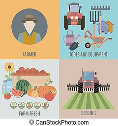 Farming and Organic Food. Flat isolated vector illustration