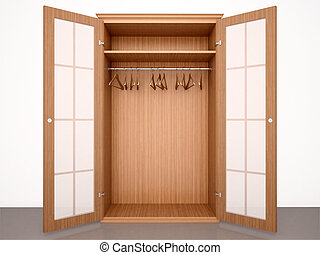 3d illustration of Empty open wooden wardrobe with hangers...