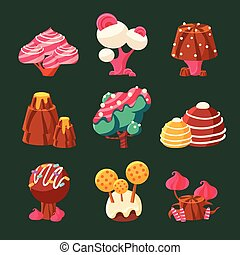 Cartoon Sweet Candy Land. Vector Illustration