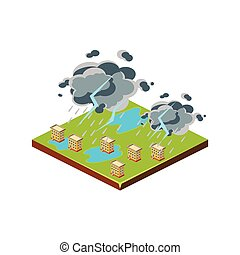 Thunderstorm. Natural Disaster Icon. Vector Illustration -...