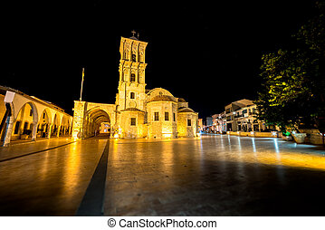The St Lazarus church at night Larnaca, Cyprus