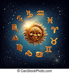Zodiac signs  - The sun surrounded by zodiac signs