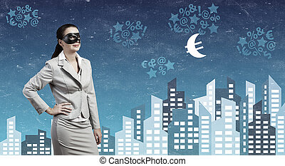 Anonymous woman in mask - Young thoughtful businesswoman...