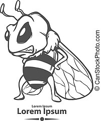 bee logo angry - angry cartoon bee, mascot, emblem for sport...