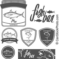 tuna fish bar - fish logo template, simple illustration,...