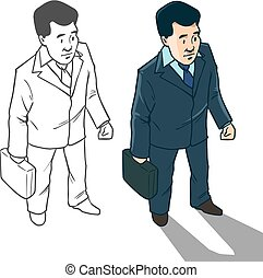man character business - business man with a suitcase, top...