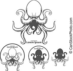 octopus sea logo - silhouette octopus, for logo, mascot,...